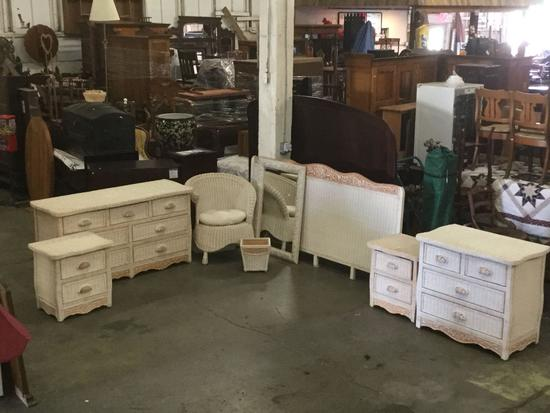 8 pc Pier 1 Jamaica collection wicker bedroom set incl. King ...