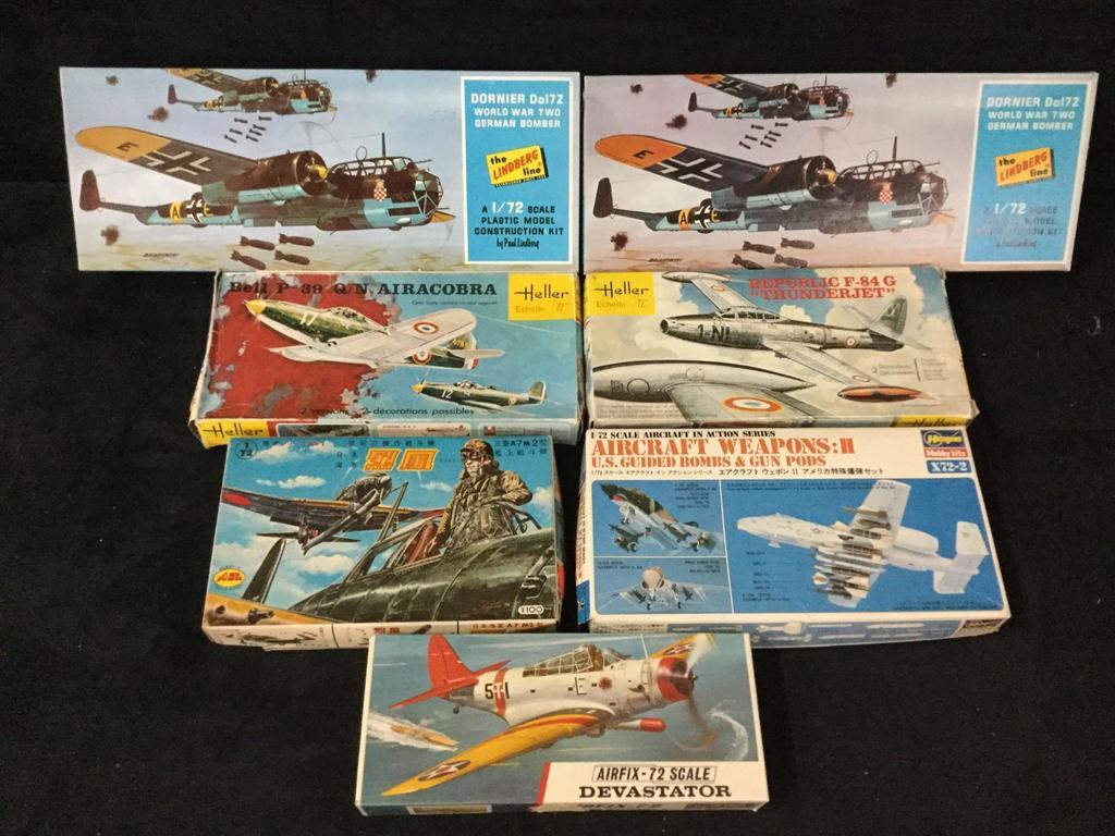 Lot: set of 7 plastic model aircraft kits, see description