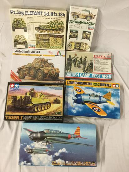 7x military plastic model kits 1/48 scale - Fuman, Ertl, Hasegawa, see desc incl bombers and tanks +
