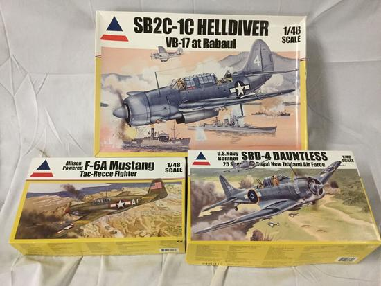 3x Accurate Miniatures military plastic model kits 1/48 scale - US Navy Bomber, Helldiver, etc