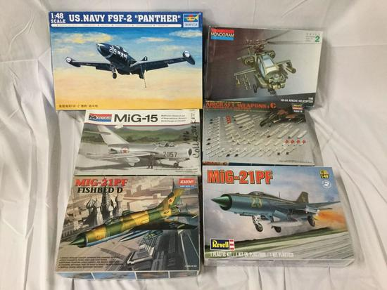 6x military plastic model kits 1/48 scale - Trumpeter, US Navy, Monogram, Academy MiG, Hasegawa etc