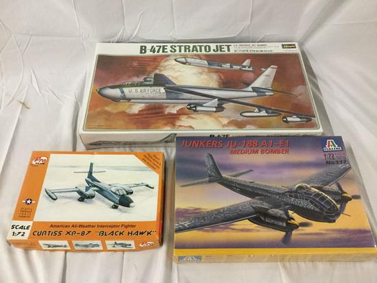 3x military plastic model kits 1/72 scale - Hasegawa, Italeri, Pro resin Curtiss etc see dec and