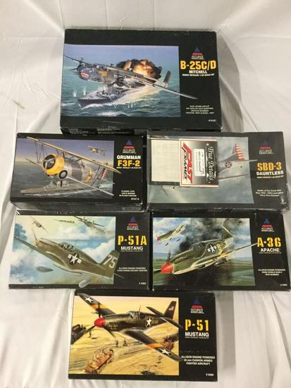 6x military plastic model kits 1/48 scale - Accurate Miniatures - B-25C/D, Grumman F3F-2 and more