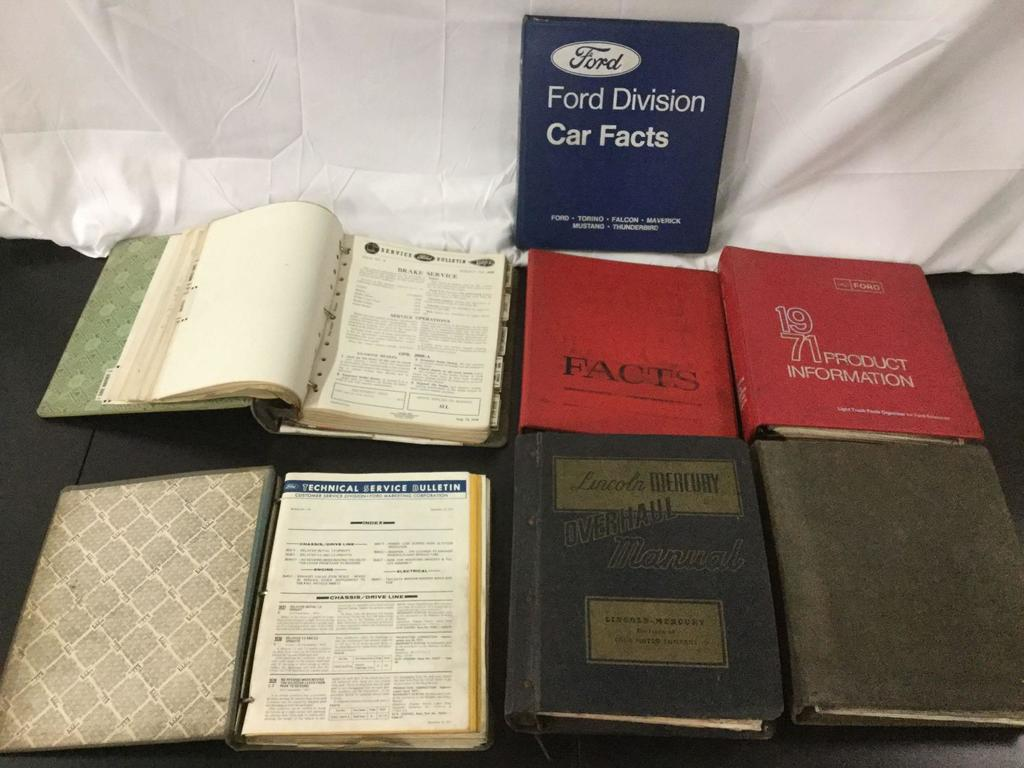 Lot Of 7 Vintage Binders With Ford Car Facts And Technical Service Bulletins From The 70s