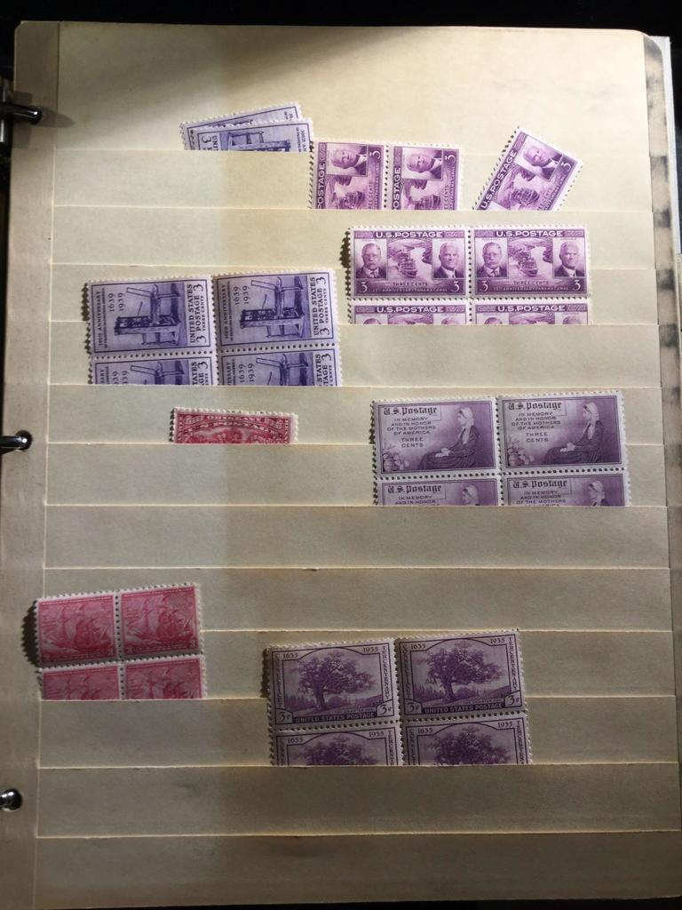 A Stamp Stock Book Filled With Old US Mint Blocks