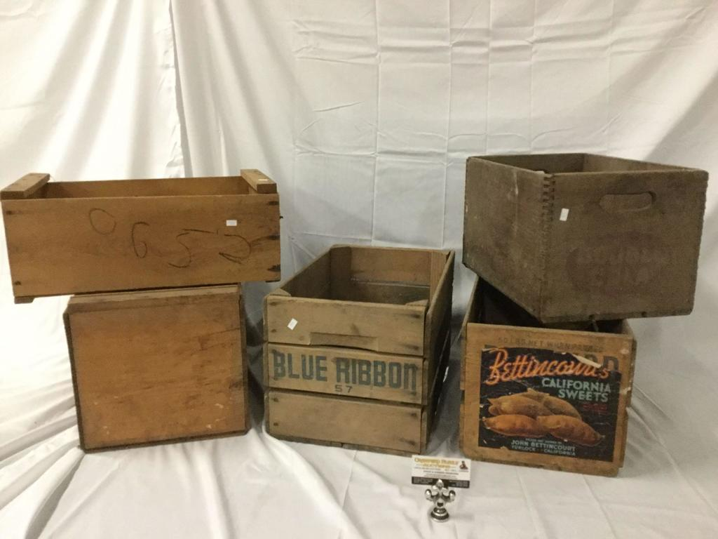 Lot Lot Of 5 Vintage Wood Delivery Crates Pabst Blue Ribbon