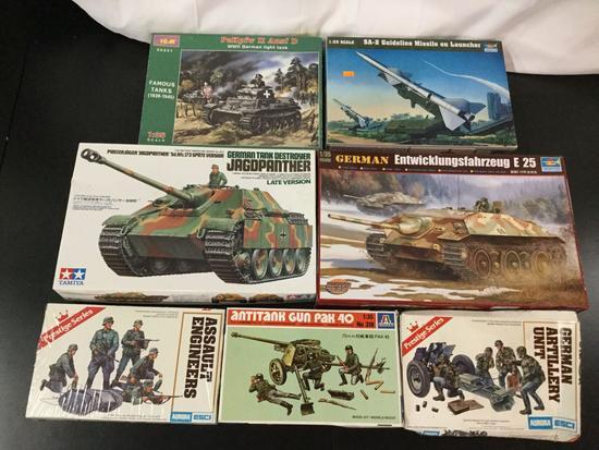 7x military plastic model kits, 1/35 scale; ICM PzKpfw II Ausf D WWII German Light Tank, Trumpeter