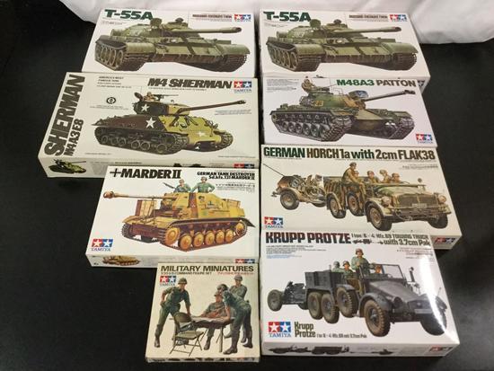 8x Tamiya military plastic model kits, 1/35 scale; 2x T-55A Russian Medium Tank, M4 Sherman Tank,