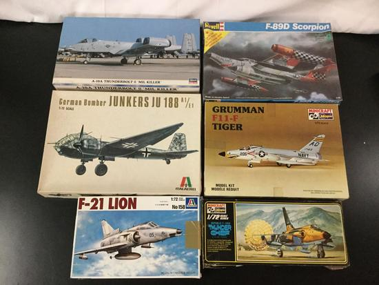 6x military aircraft plastic model kits, 1/72 scale; SEALED Revell F-89D Scorpion,