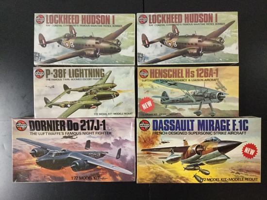 6x AirFix military aircraft plastic model kits, 1/72 scale; SEALED P-38F Lightning, SEALED Henschel