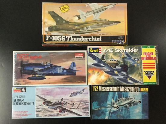5x military plastic model kits, 1/72 scale; SEALED MPC F-105G Thundechief, Academy Minicraft Grumman