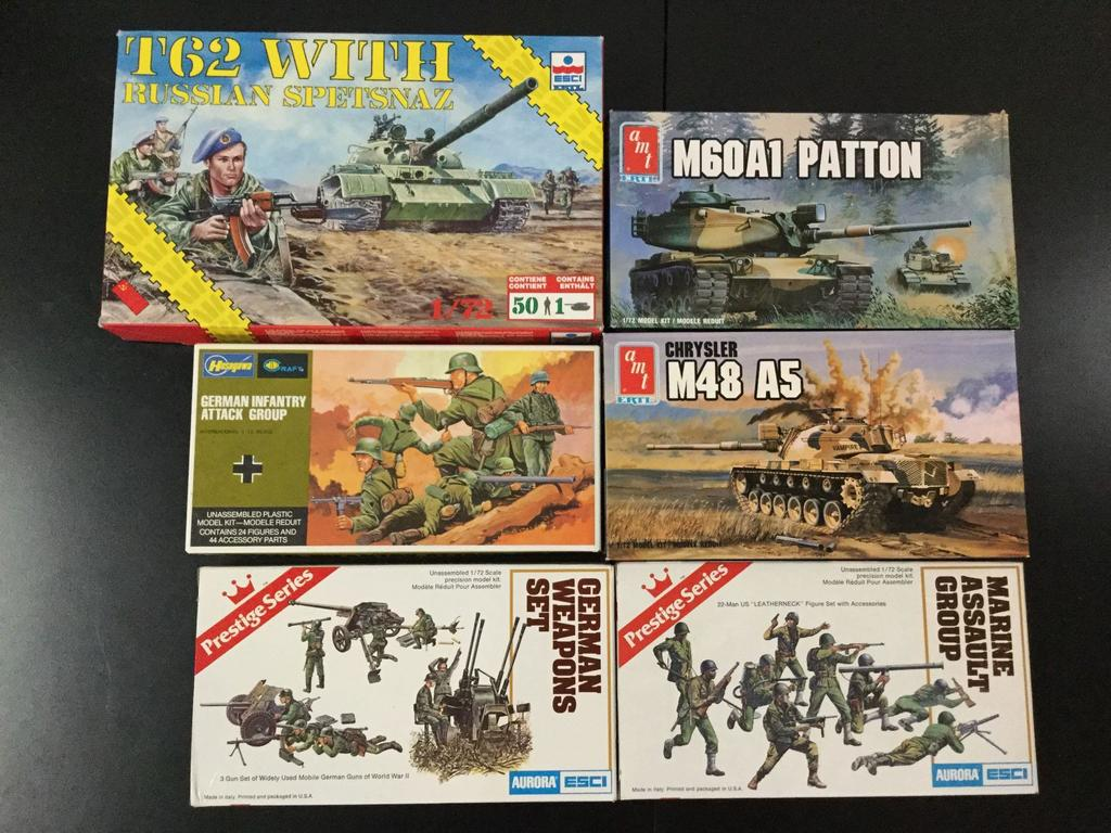 6x military plastic model kits, 1/72 scale; ESCI-ERTL T62 MBT tank with Russian Spetsnaz, AMT-ERTL