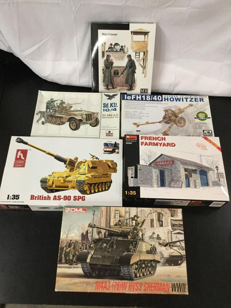 6x military plastic model kits, 1/35 scale; Master Box LTD Watchtower, ESCI Sd. Kfz. 10/4 20mm A.A.