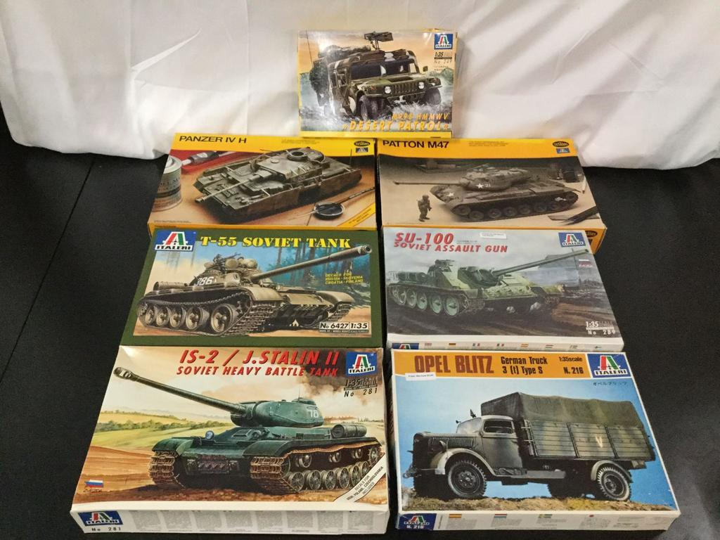 7x Italeri military plastic model kits, 1/35 scale; SEALED SU-100 Soviet Assault Gun, M998 HMMWV