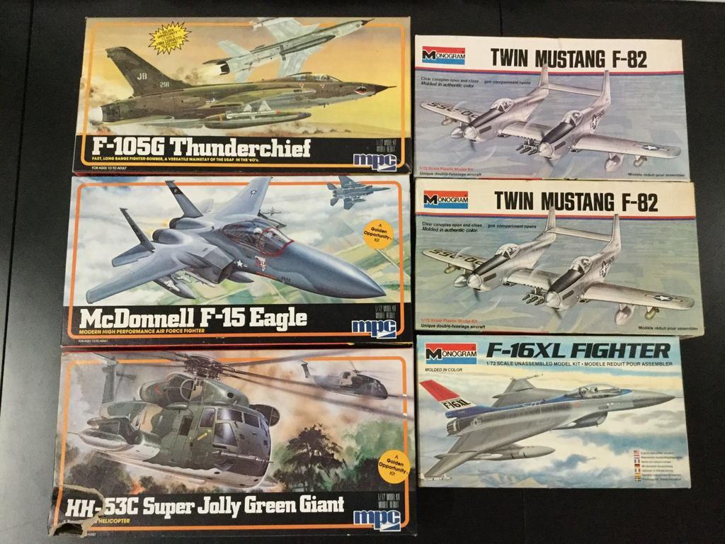 6x military plastic model kits, 1/72 scale; MPC F-105G Thunderchief, MPC McDonnell F-15 Eagle, MPC