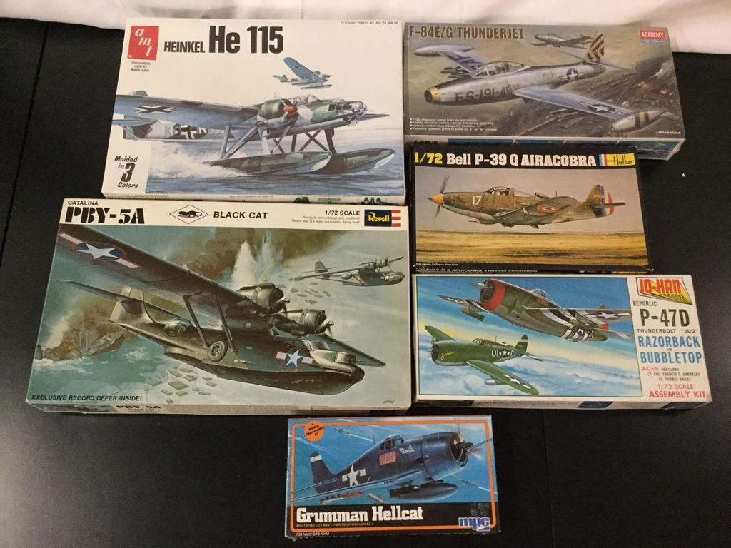 6x military aircraft plastic model kits, 1/72 scale; SEALED AMT Heinkel He 115, Academy F-84E/G