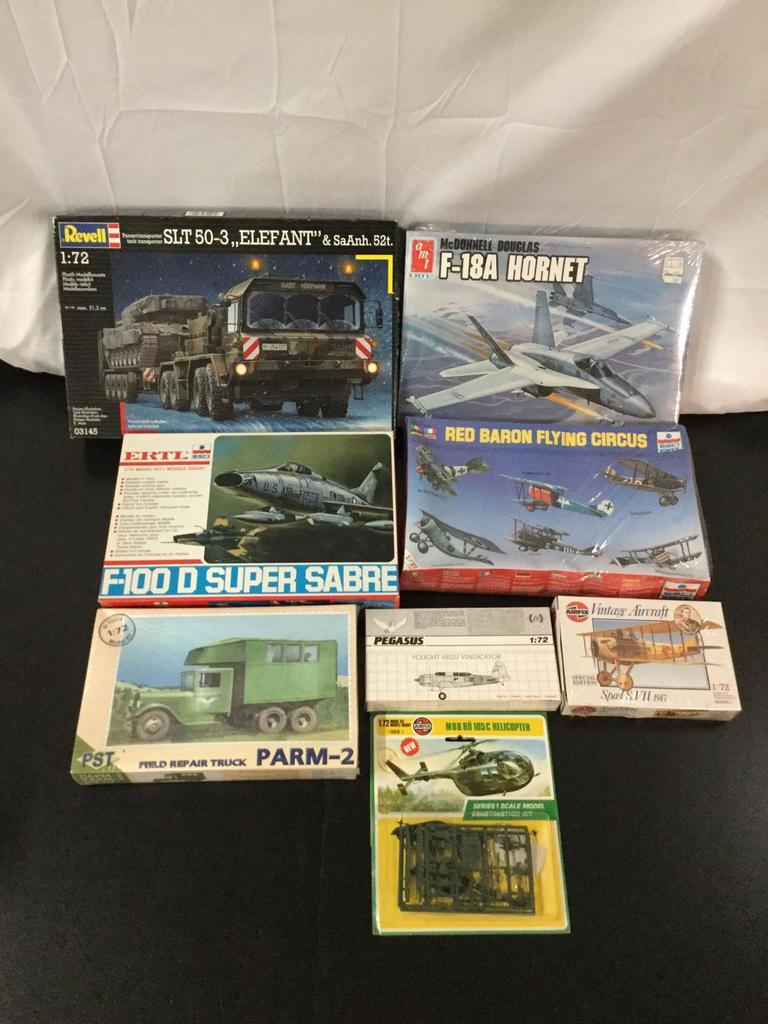8x military plastic model kits, 1/72 scale; SEALED AMT-ERTL F-18A Hornet, SEALED ESCI-ERTL Red Baron