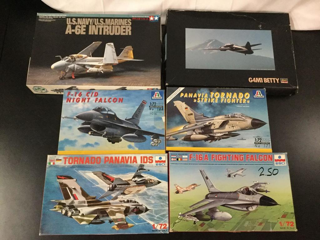 6x military plastic model kits, 1/72 scale; ESCI Tornado Panavia IDS, ESCI F-16A Fighting Falcon,