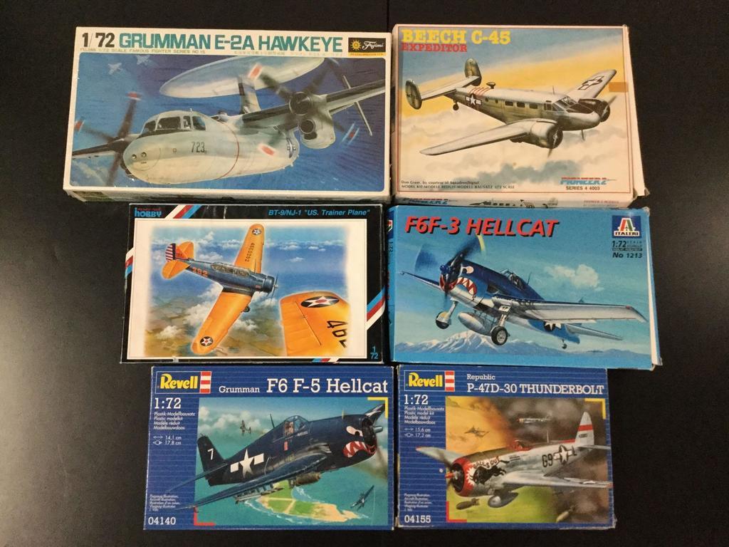 6x military plastic model kits, 1/72 scale; SEALED Fujimi Grumman E-2A Hawkeye, Pioneer2 Beech C-45