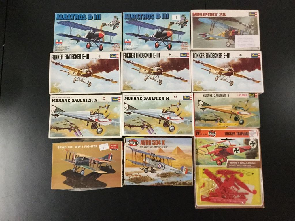 12x military aircraft model kits, 1/72 scale; SEALED AirFix Fokker Triplane, AirFix AVRO 504 K, 2x