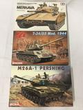 3 model kits, 1/35 scale. Tamiya Merkava Battle Tank, Dragon T-34/85, DML M26A-1 Pershing