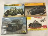 4 Model Kits, 1/35 scale. Italeri Horch Kfz 15, Italaerei Sherman M4 A1, Heller GMC CCKW 353, Heller