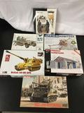 6x military plastic model kits, 1/35 scale; Master Box LTD Watchtower, ESCI Sd. Kfz. 10/4 20mm A.A.