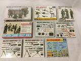 9 model kits, 1/35 scale. SEALED Dragon Frozen Battleground, ERTL British Camp-Rest Area, Italeri