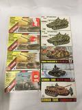 9 model kits, mostly 1/72 scale. x3 SEALED AHM German 150mm Self-Propelled Howitzer, SEALED AHM