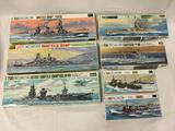 7 assorted model kits, Water Line Series 1/700 scale. Battleship Fuso, Battleship Kirishima, Air