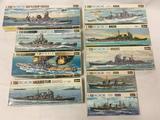 9 Hasegawa Model Kits, Water Line Series 1/700 scale. Battleship Hyuga, USA Battleship South Dakota,