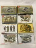 8 model kits, 1/35 scale. x2 (1 SEALED) Tristar 20mm Flak 38 Cannon, SEALED Tristar Kursk Bailout