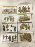 8 SEALED Dragon model kits, 1/35 scale. German Field Howitzer Gun Crew, 1st Luftwaffe Field
