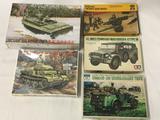 5 model kits, 1/35 scale. Dragon LSSC, Testors 105mm Howitzer, SEALED ICM PzKpfw II Ausf L Luchs,