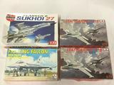 4 model kits, 1/72 scale. AirFix Sukhoi 27, ESCI Fighting Falcon, x2 ESCI Leatherneck F-18s