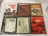 6 SPI Strategy Games, in boxes: Desert War, MechWar 77, Sinai, Destruction of Army Group Center, The