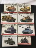 8x Bandai military plastic model kits, 1/35 scale; SEALED US Willys Jeep, German Side-Car BMWR/75,
