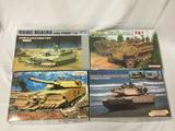4 model kits, 1/35 scale. Trumpeter USMC M1A1HA with TWMP, Dragon M1A1 Abrams w/ Mine Plow, Dragon
