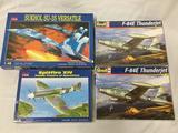 4 model kits, 1/48 scale. Kitech Sukhol Su-35, Kitech Spitfire XIV, x2 SEALED Revell F-84E