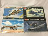 4 model kits, 1/48 scale. ScaleCraft MiG-27 Flogger D, HobbyBoss F4F-3 Wildcat, AMT/ERTL Grumman
