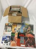 Box of vintage sports magazines: Sports, Sports Illustrated, The Sporting News, Beckett, etc. see