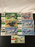 7x Hasegawa military aircraft plastic model kits, 1/72 scale; SEALED L.T.V. F-8E Crusader, SEALED
