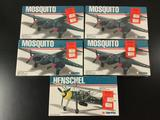 5x SEALED USAirfix military aircraft plastic model kits, 1/72 scale; 4x Mosquito, Henschel