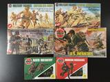 6x AirFix military soldier plastic model kits, 1/32 scale; British 8th Army, German Afrika Korps,