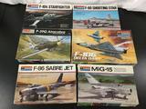 6x Monogram military aircraft plastic model kits, 1/48 scale; F-104 Starfighter, F-80 Shooting Star,