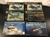 6x military aircraft plastic model kits, 1/48 scale; 4x AMT-ERTL: 2x Grumman F7F-3 Tigercat, Curtiss