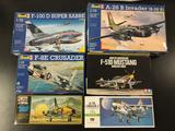 6x military aircraft plastic model kits, 1/48 scale; Revell F-100D Super Sabre, Revell A-26 B
