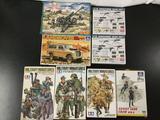 8x military plastic model kits, 1/35 scale; 2x SEALED Academy US Machine Gun Set, CKIO 122-mm