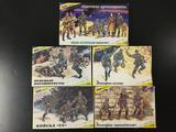 5x Zvezda military soldier plastic model kits, 1/35 scale, made in Russia.