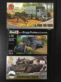 3x military plastic model kits, 1/76 scale; AirFix Opel Blitz and Pak 40 Gun, Revell Kfz.70 Krupp